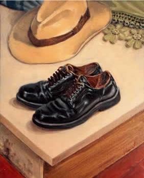Zapato y sombrero. Óleo sobre lienzo -