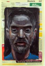 Autorretratos esquizofrénicos III. Óleo sobre papel, 27x18 cm