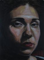 Judith, estudio I. Óleo sobre papel, 23x31 cm