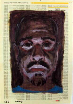 Autorretratos esquizofrénicos I. Óleo sobre papel, 27x18 cm