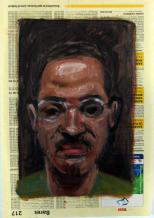 Autorretratos esquizofrénicos II. Óleo sobre papel, 27x18 cm
