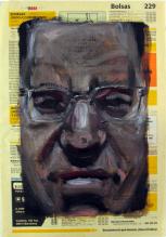 Autorretratos esquizofrénicos V. Óleo sobre papel, 27x18 cm